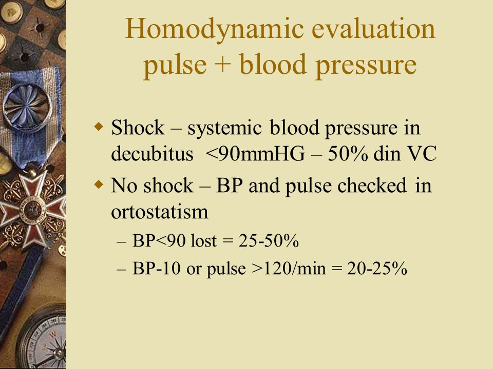 Homodynamic evaluation pulse + blood pressure