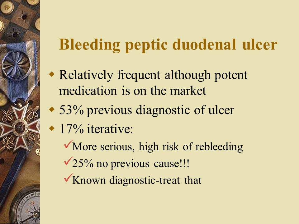 Bleeding peptic duodenal ulcer