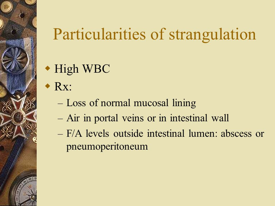Particularities of strangulation