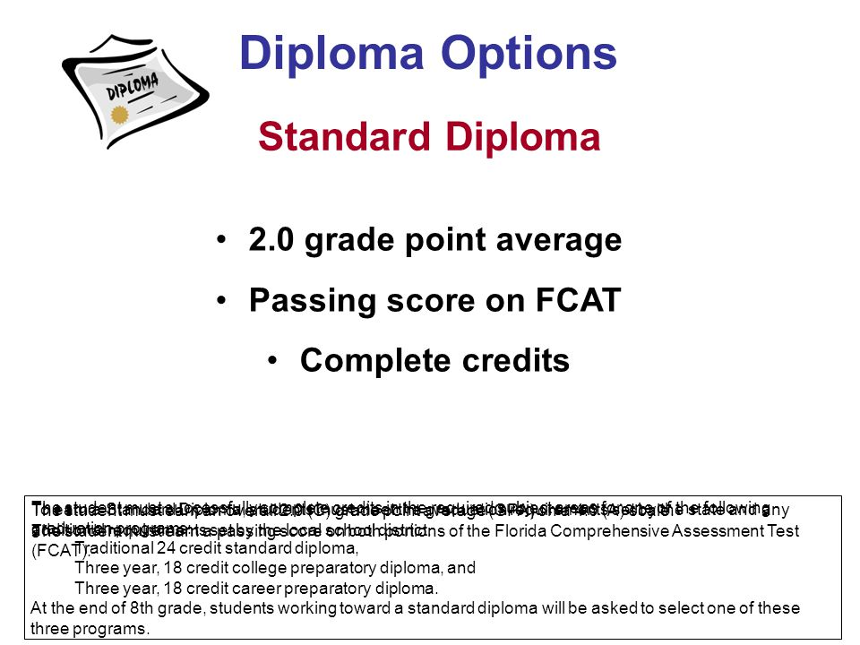 Diploma Options Standard Diploma 2.0 grade point average