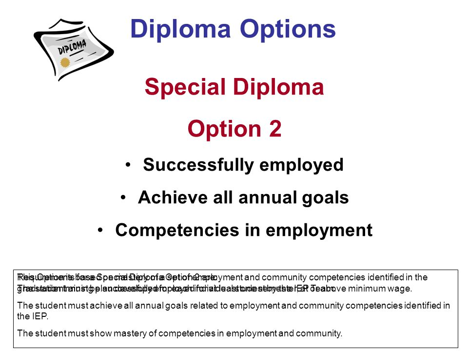 Diploma Options Special Diploma Option 2 Successfully employed