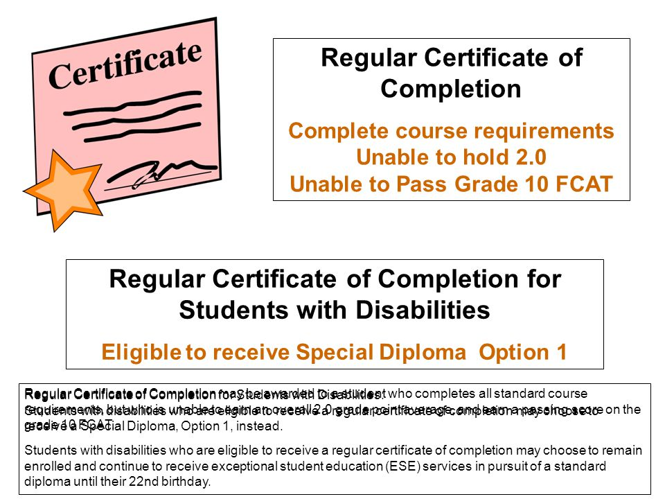 Regular Certificate of Completion