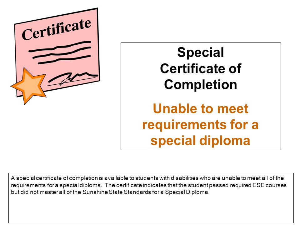 Special Certificate of Completion