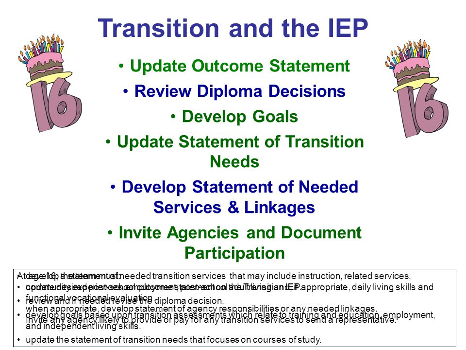 Transition and the IEP Update Outcome Statement