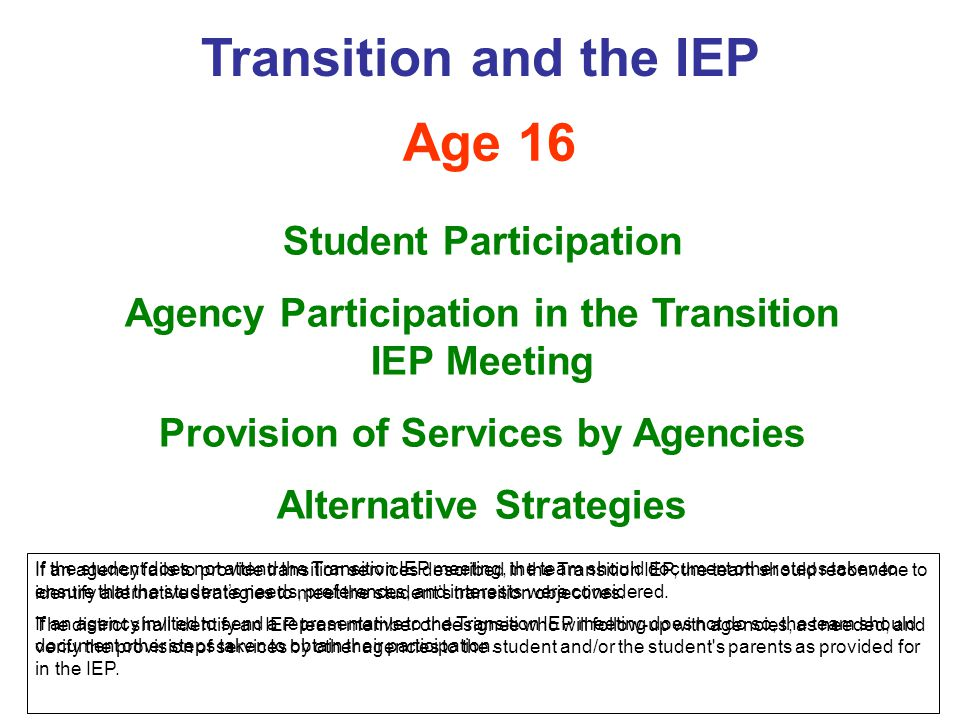 Transition and the IEP Age 16