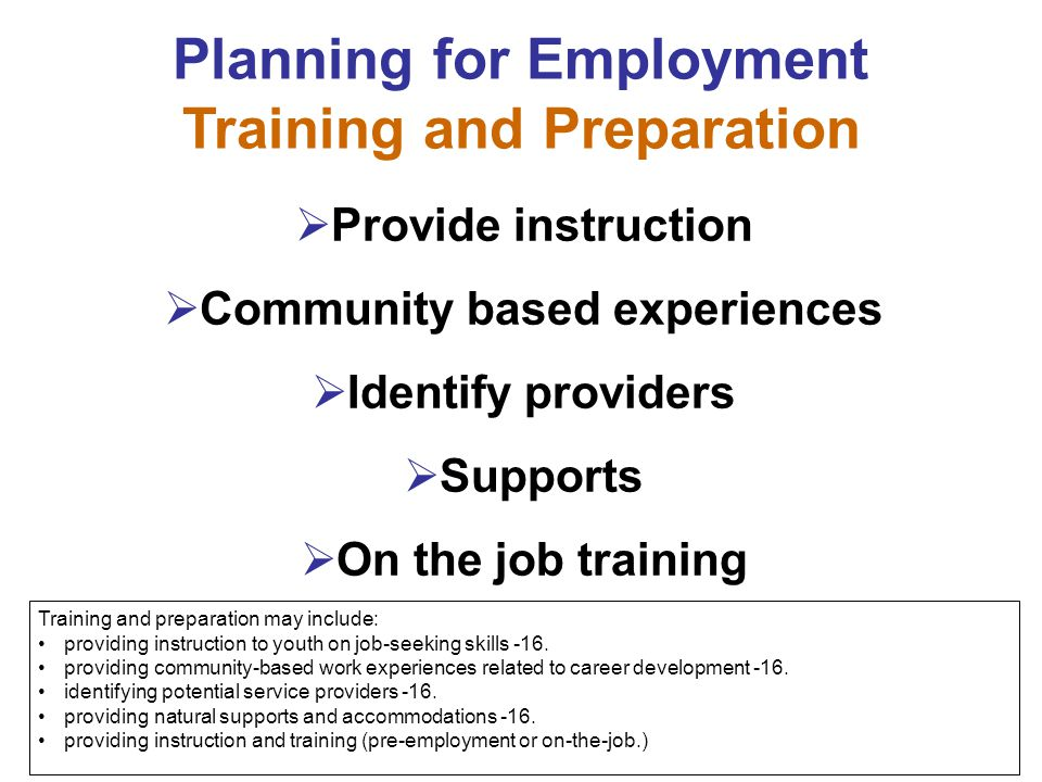 Planning for Employment Training and Preparation