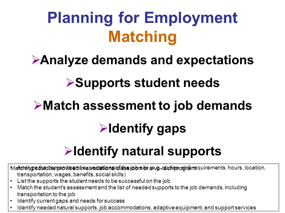 Planning for Employment Matching