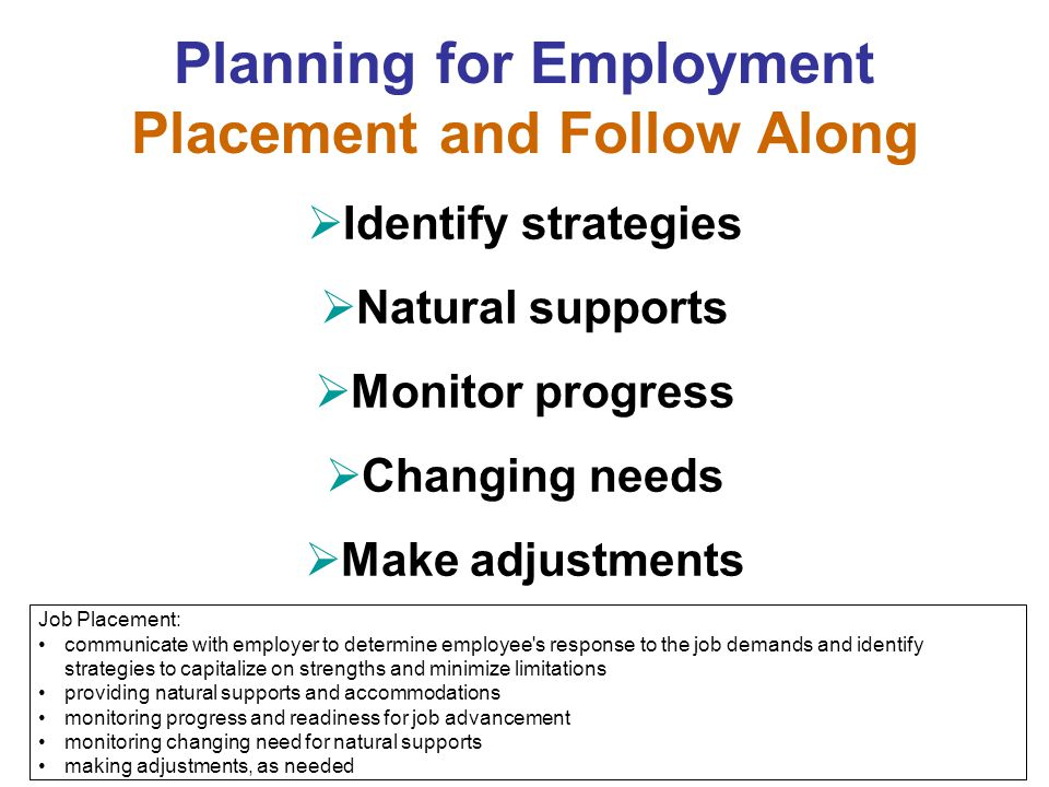 Planning for Employment Placement and Follow Along