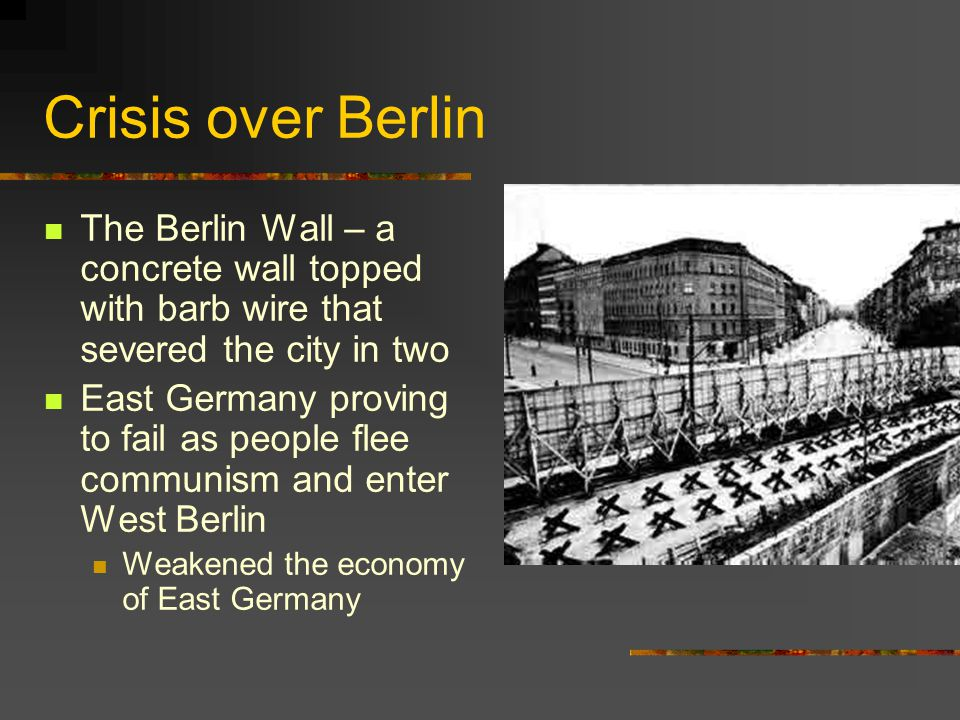 Crisis over Berlin The Berlin Wall – a concrete wall topped with barb wire that severed the city in two.
