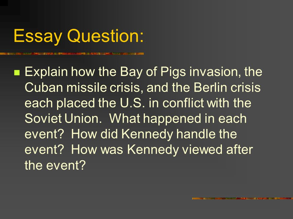 bay of pigs essay Unlike most editing & proofreading services, we edit for everything: grammar, spelling, punctuation, idea flow, sentence structure, & more get started now.