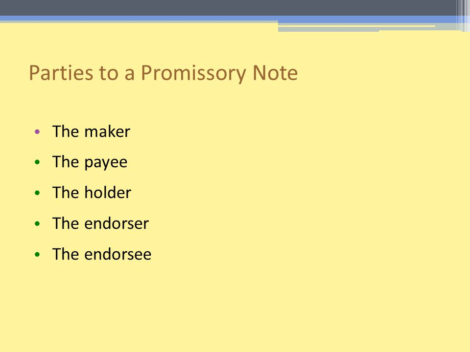 Parties to a Promissory Note