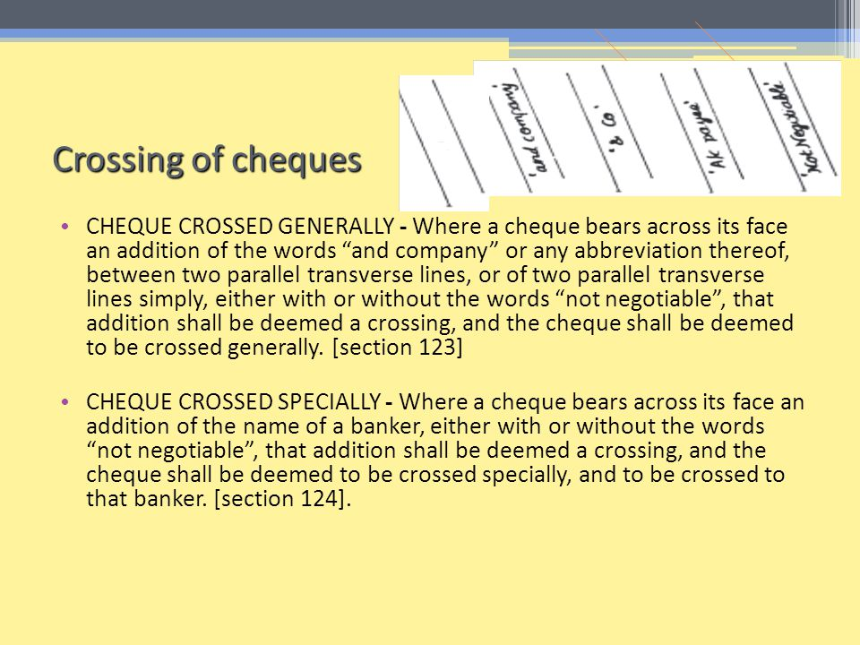 Crossing of cheques
