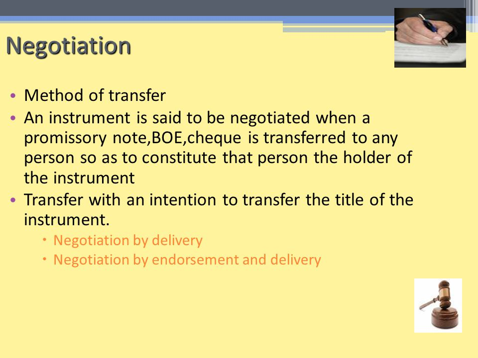 Negotiation Method of transfer