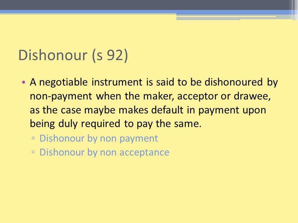 Dishonour (s 92)