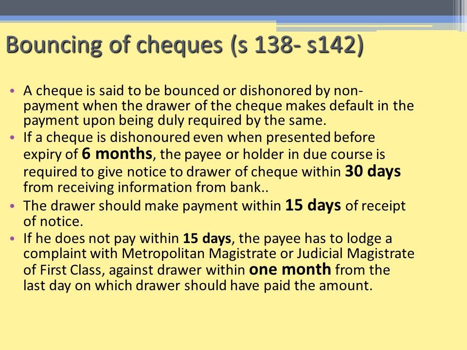 Bouncing of cheques (s 138- s142)