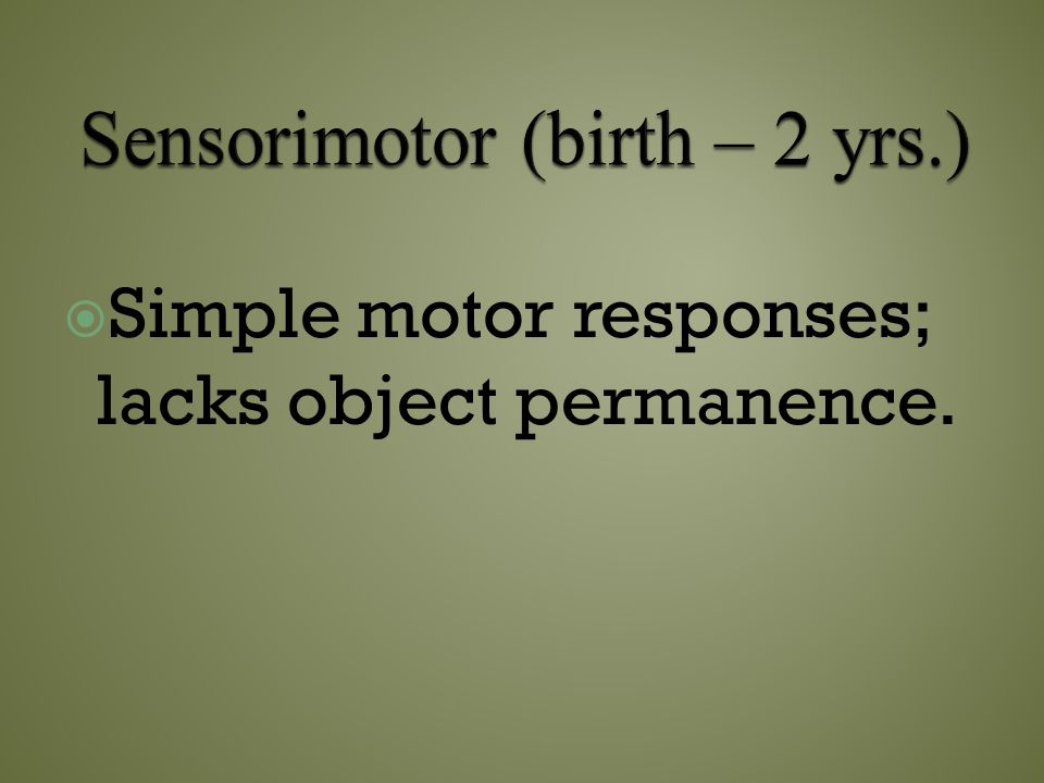 Sensorimotor (birth – 2 yrs.)