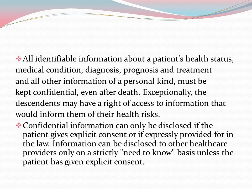 All identifiable information about a patient s health status,