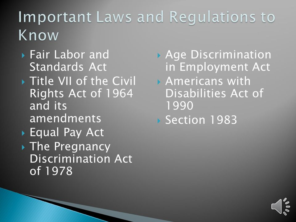 Important Laws and Regulations to Know