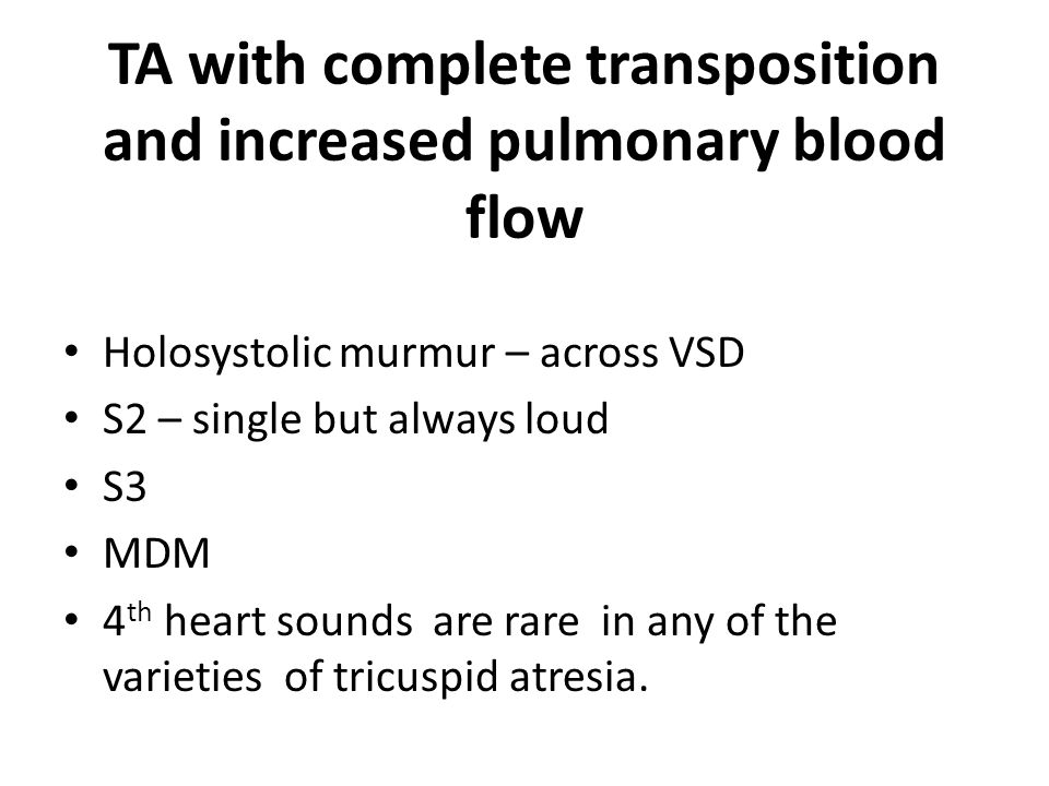 TA with complete transposition and increased pulmonary blood flow
