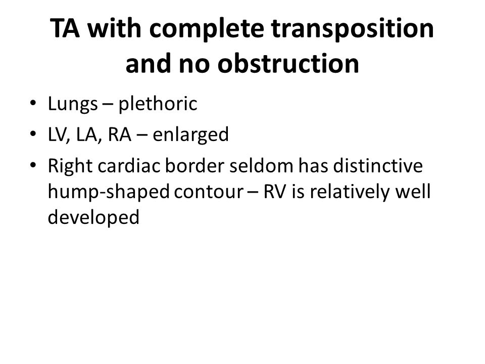 TA with complete transposition and no obstruction