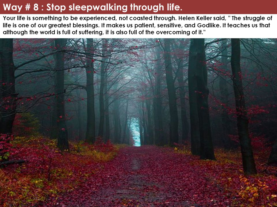 Way # 8 : Stop sleepwalking through life.