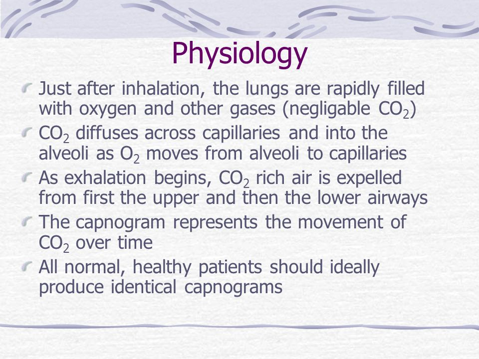 Physiology Just after inhalation, the lungs are rapidly filled with oxygen and other gases (negligable CO2)