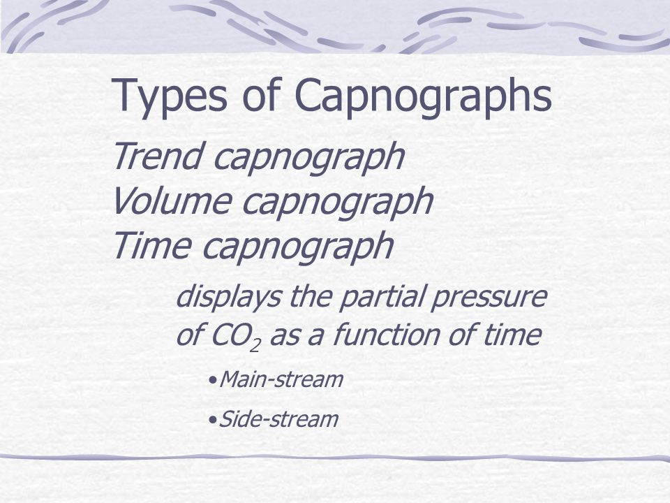 Types of Capnographs Trend capnograph. Volume capnograph. Time capnograph. displays the partial pressure of CO2 as a function of time.