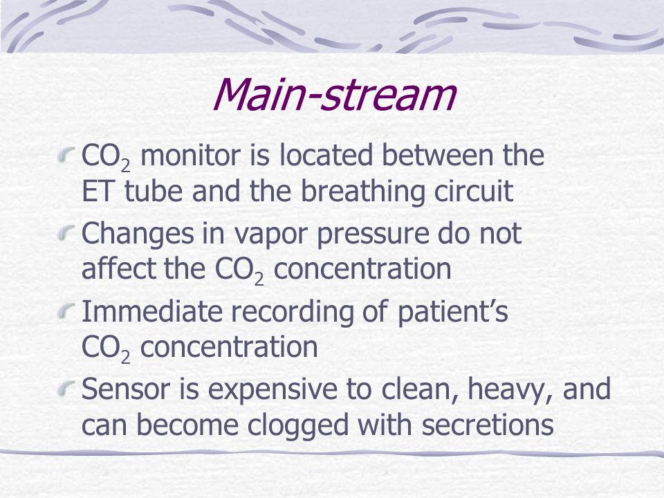 Main-stream CO2 monitor is located between the ET tube and the breathing circuit.