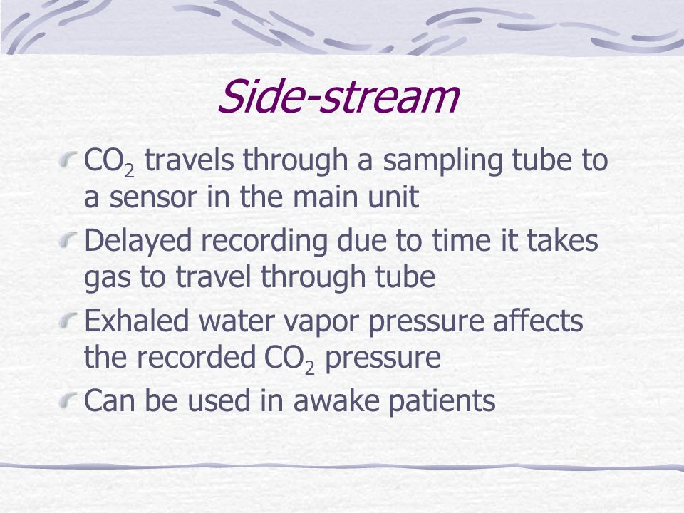 Side-stream CO2 travels through a sampling tube to a sensor in the main unit. Delayed recording due to time it takes gas to travel through tube.