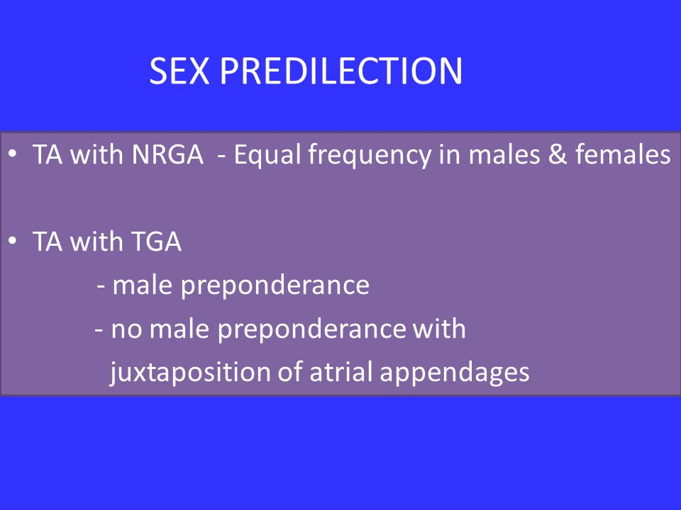 SEX PREDILECTION TA with NRGA - Equal frequency in males & females