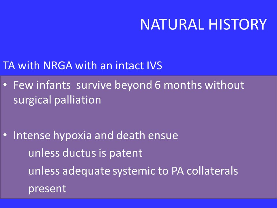 NATURAL HISTORY TA with NRGA with an intact IVS