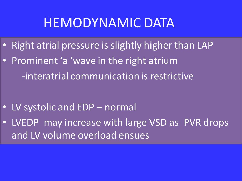 HEMODYNAMIC DATA Right atrial pressure is slightly higher than LAP