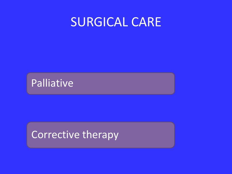SURGICAL CARE Palliative Corrective therapy