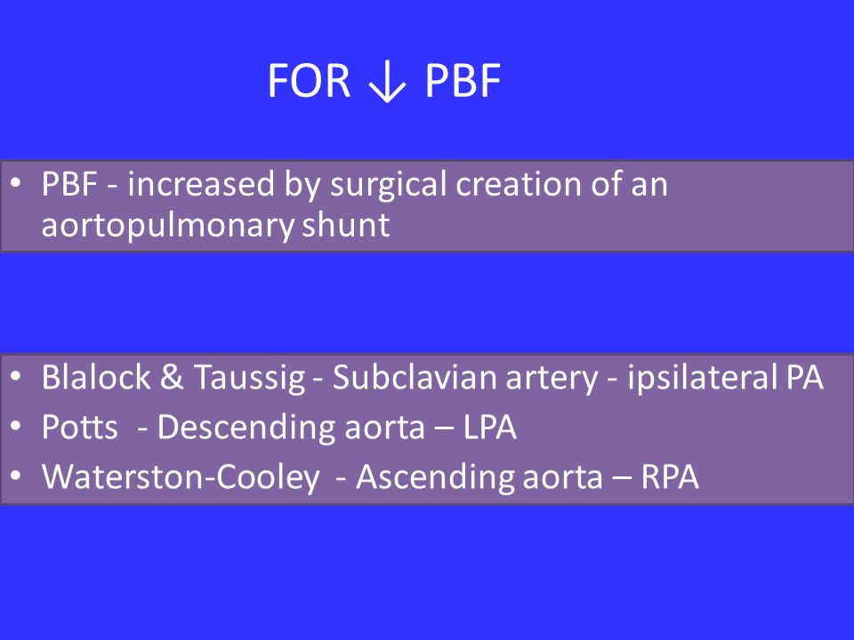 FOR ↓ PBF PBF - increased by surgical creation of an aortopulmonary shunt. Blalock & Taussig - Subclavian artery - ipsilateral PA.