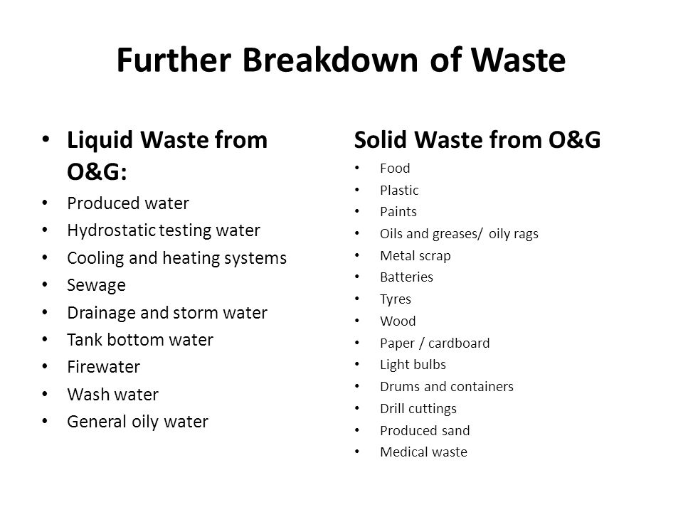 Further Breakdown of Waste