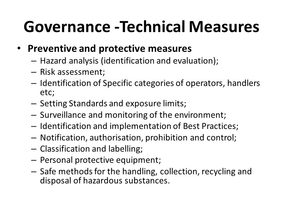 Governance -Technical Measures