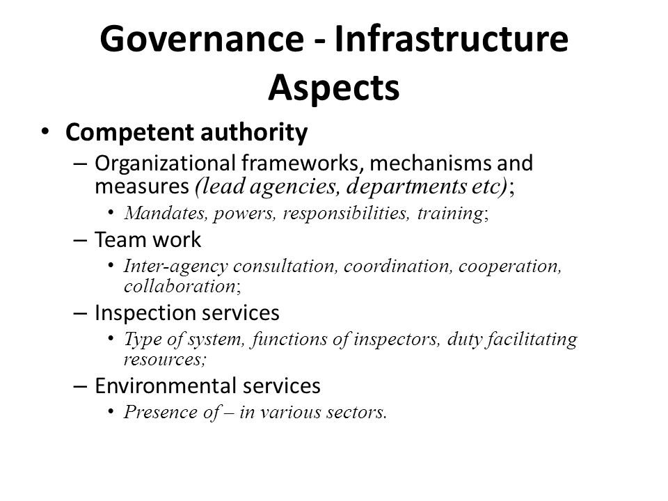 Governance - Infrastructure Aspects