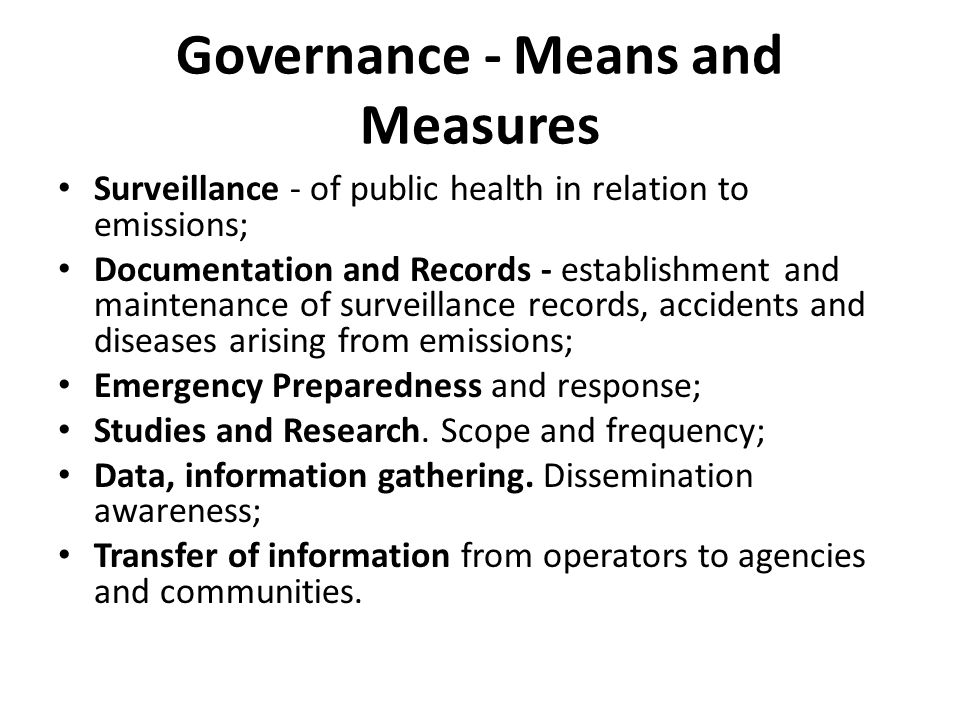 Governance - Means and Measures