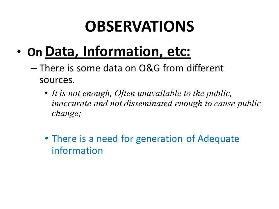 OBSERVATIONS On Data, Information, etc: