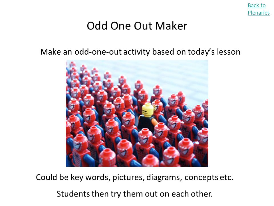 Odd One Out Maker Make an odd-one-out activity based on today's lesson