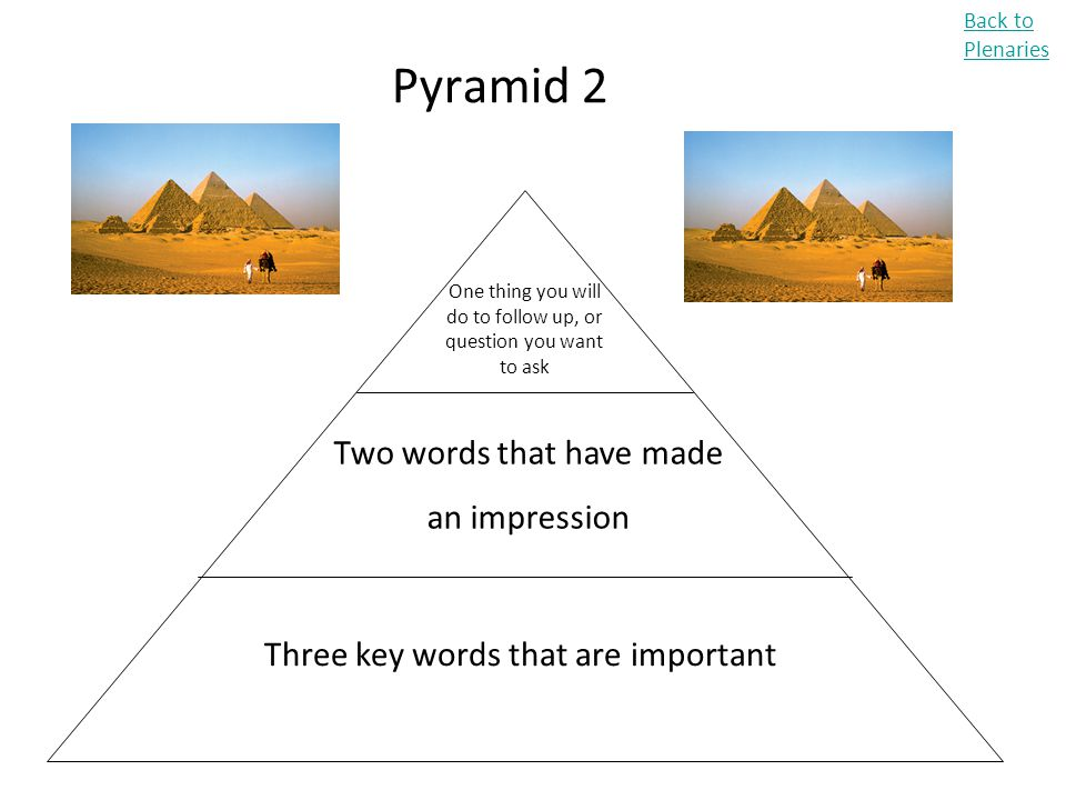 Pyramid 2 Two words that have made an impression