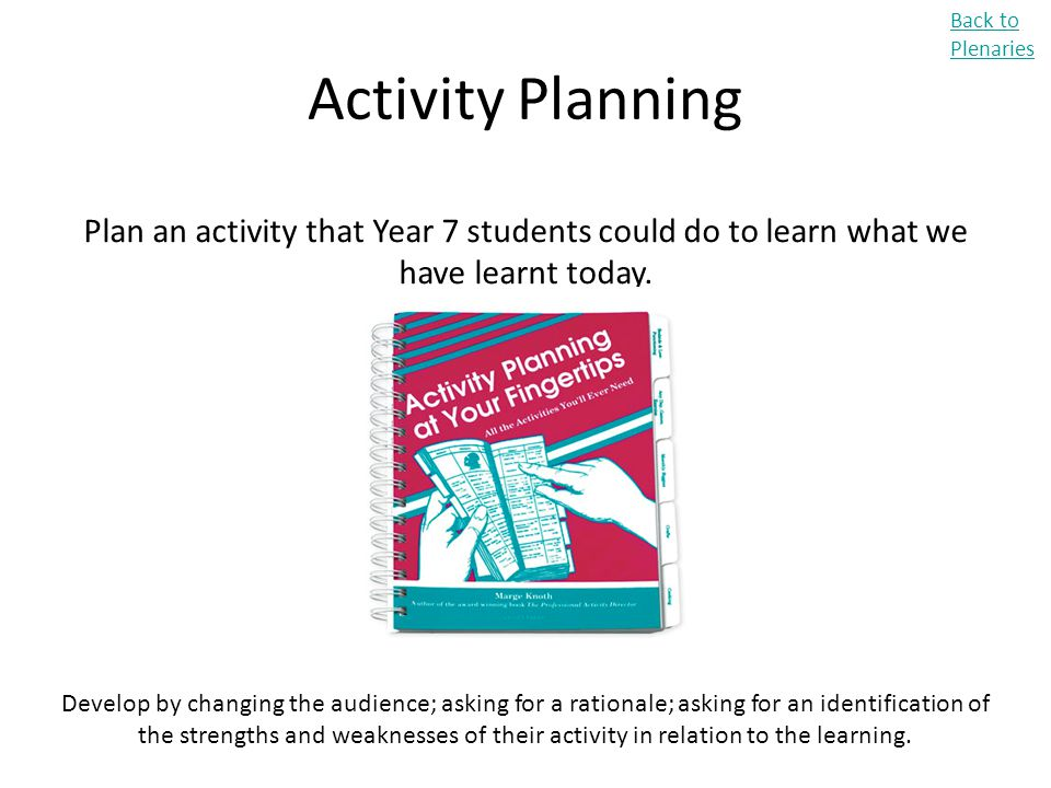 Back to Plenaries Activity Planning. Plan an activity that Year 7 students could do to learn what we have learnt today.