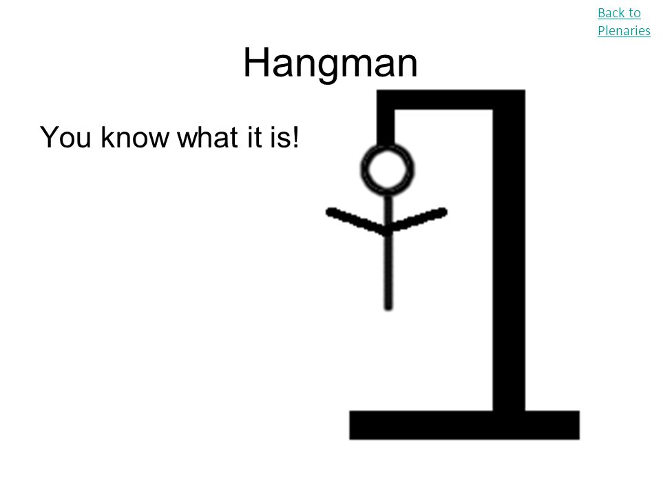 Back to Plenaries Hangman You know what it is!