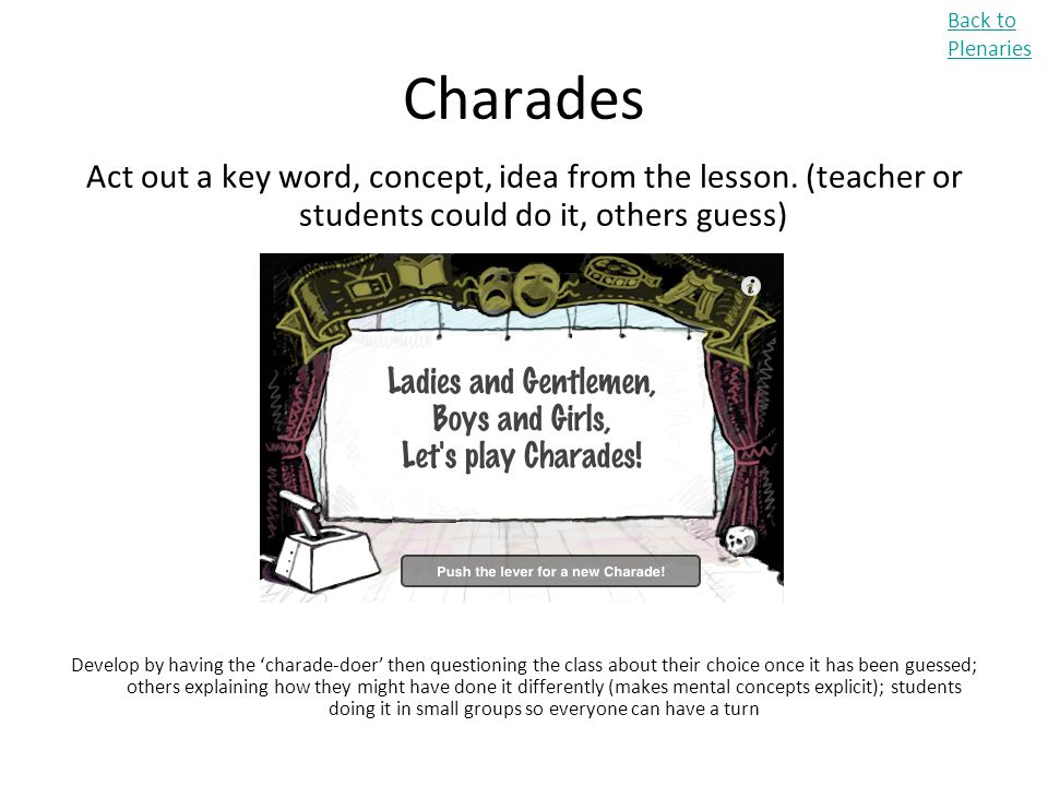 Back to Plenaries Charades. Act out a key word, concept, idea from the lesson. (teacher or students could do it, others guess)