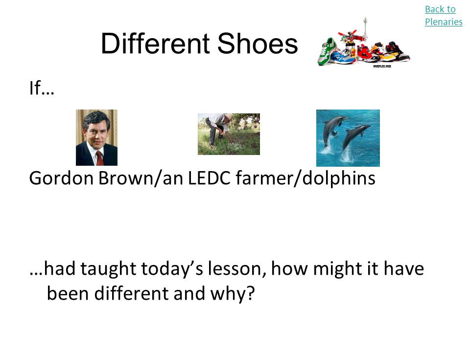 Different Shoes If… Gordon Brown/an LEDC farmer/dolphins