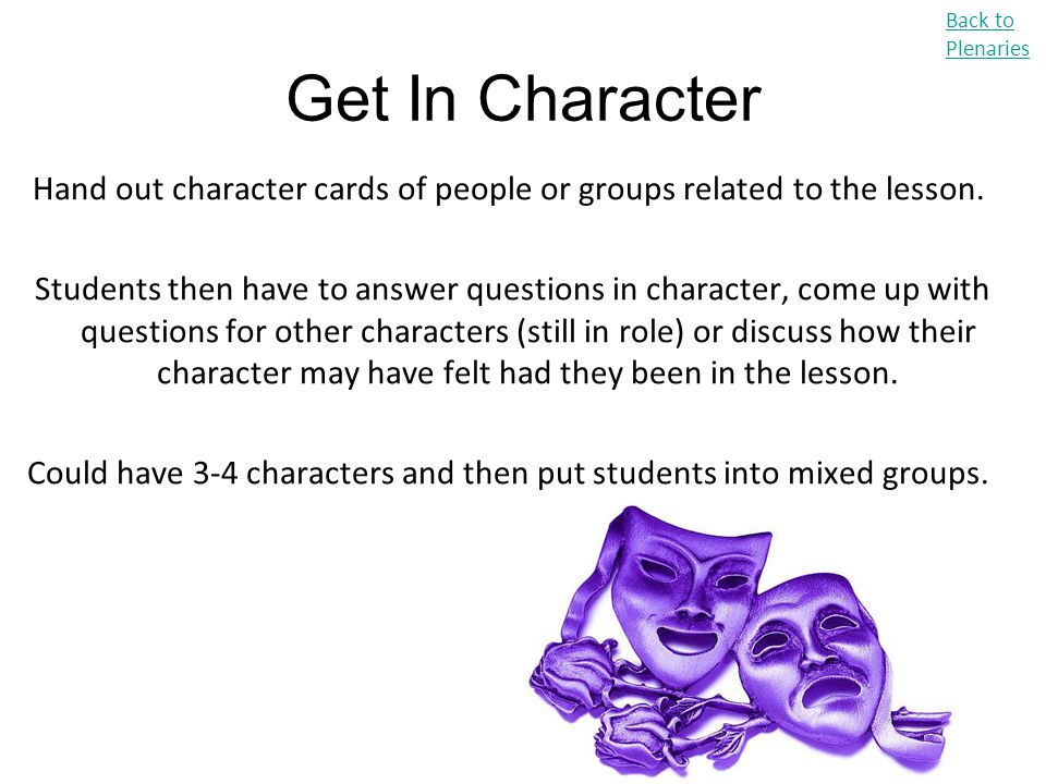 Back to Plenaries Get In Character. Hand out character cards of people or groups related to the lesson.