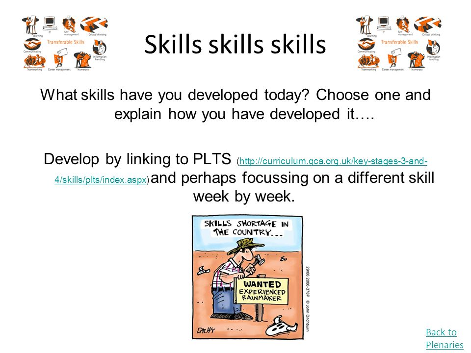 Skills skills skills What skills have you developed today Choose one and explain how you have developed it….