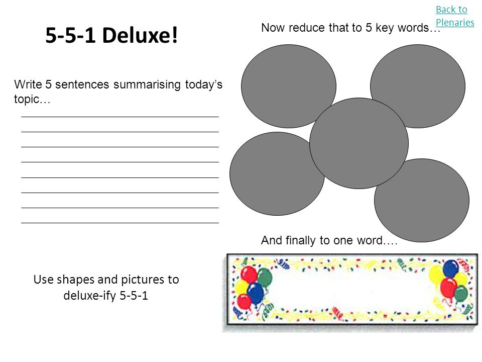 Use shapes and pictures to deluxe-ify 5-5-1