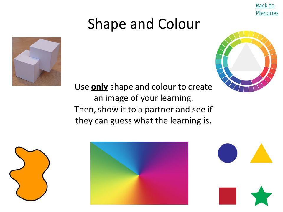 Use only shape and colour to create an image of your learning.