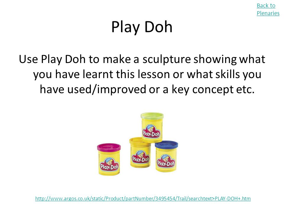 Back to Plenaries Play Doh.